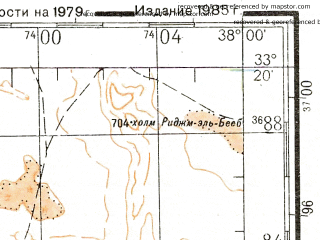 Reduced fragment of topographic map ru--gs--200k--i37-26--N033-20_E037-00--N032-40_E038-00