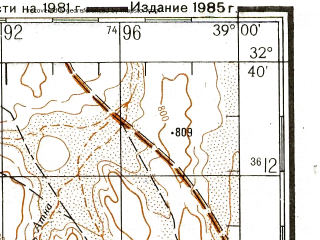 Reduced fragment of topographic map ru--gs--200k--i37-33--N032-40_E038-00--N032-00_E039-00