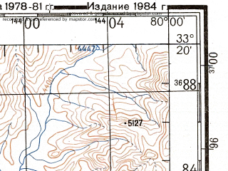 Reduced fragment of topographic map ru--gs--200k--i44-26--N033-20_E079-00--N032-40_E080-00; towns and cities Demchok, Tashigang