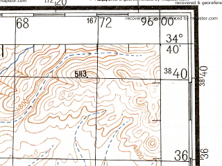 Reduced fragment of topographic map ru--gs--200k--i46-18--N034-40_E095-00--N034-00_E096-00; towns and cities Qumarleb Jiuzhi, Yuge