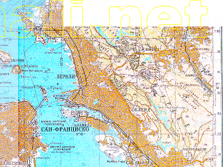 Reduced fragment of topographic map ru--gs--200k--j10-22--N038-00_W123-00--N037-20_W122-00 in area of San Francisco Bay, Upper Crystal Springs Reservoir, Kent Lake; towns and cities San Francisco, Oakland, Concord, Hayward, Berkeley