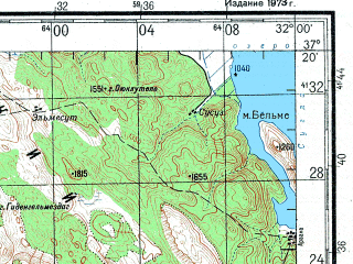 Reduced fragment of topographic map ru--gs--200k--j36-26--N037-20_E031-00--N036-40_E032-00; towns and cities Manavgat, Akseki, Geris, Guneycik, Yaylaalah