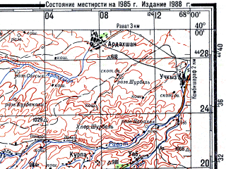 Reduced fragment of topographic map ru--gs--200k--j42-02--N040-00_E067-00--N039-20_E068-00; towns and cities Pendzhikent, Urgut, Krasnogvardeysk, Kropatkino
