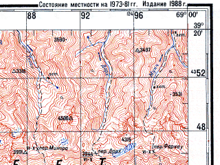 Reduced fragment of topographic map ru--gs--200k--j42-09--N039-20_E068-00--N038-40_E069-00; towns and cities Varzob, Khanaka, Takob