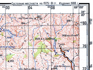 Reduced fragment of topographic map ru--gs--200k--j42-14--N038-40_E067-00--N038-00_E068-00; towns and cities Denau, Baysun, Shurchi