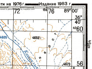 Reduced fragment of topographic map ru--gs--200k--j45-35--N036-40_E088-00--N036-00_E089-00