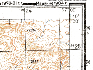 Reduced fragment of topographic map ru--gs--200k--j47-01--N040-00_E096-00--N039-20_E097-00