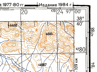 Reduced fragment of topographic map ru--gs--200k--j47-13--N038-40_E096-00--N038-00_E097-00