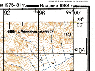 Reduced fragment of topographic map ru--gs--200k--j47-21--N038-00_E098-00--N037-20_E099-00