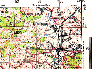 Reduced fragment of topographic map ru--gs--200k--k34-17--N042-40_E022-00--N042-00_E023-00; towns and cities Kyustendil, Donja Ljubata, Bosilegrad