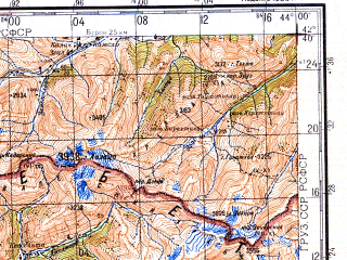 Download topographic map in area of Tkibuli Chiatura Tskhinvali
