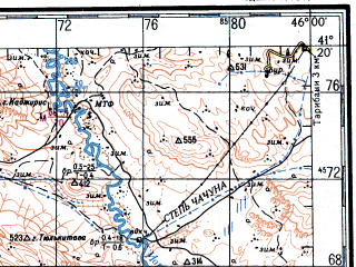 Reduced fragment of topographic map ru--gs--200k--k38-28--N041-20_E045-00--N040-40_E046-00; towns and cities Idzhevan, Kazakh, Tauz, Dzegam-dzhyrdakhan, Akstafa