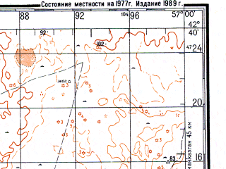Reduced fragment of topographic map ru--gs--200k--k40-15--N042-40_E056-00--N042-00_E057-00