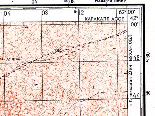 Reduced fragment of topographic map ru--gs--200k--k41-20--N042-00_E061-00--N041-20_E062-00; towns and cities Turtkul', Imeni Maksima Gorkogo, Miskin