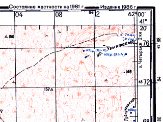 Reduced fragment of topographic map ru--gs--200k--k41-26--N041-20_E061-00--N040-40_E062-00; towns and cities Gaz-achak, Khazarasp, Kulatau, Sheykharyk, Bezergen