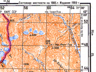 Reduced fragment of topographic map ru--gs--200k--k42-23--N042-00_E070-00--N041-20_E071-00; towns and cities Burchmulla