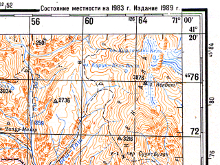 Reduced fragment of topographic map ru--gs--200k--k42-29--N041-20_E070-00--N040-40_E071-00; towns and cities Angren, Yangiabad