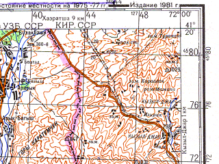 Download topographic map in area of Namangan Chust Kasansay