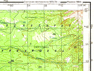 Reduced fragment of topographic map ru--gs--200k--k52-20--N042-00_E127-00--N041-20_E128-00; towns and cities Hujugoup