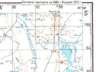 Reduced fragment of topographic map ru--gs--200k--l38-15--N046-40_E044-00--N046-00_E045-00; towns and cities Elista, Voznesenovka, Buratinskiy, Leninskiy