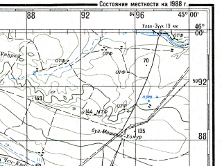 Reduced fragment of topographic map ru--gs--200k--l38-21--N046-00_E044-00--N045-20_E045-00 in area of Cograjskoe Vodochranilisce; towns and cities Arzgir