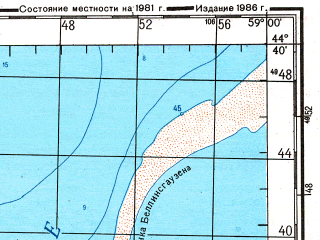 Reduced fragment of topographic map ru--gs--200k--l40-35--N044-40_E058-00--N044-00_E059-00; towns and cities Kabanbay, Komosomolsk-na-ustyurte