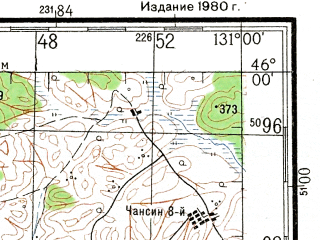 Reduced fragment of topographic map ru--gs--200k--l52-23--N046-00_E130-00--N045-20_E131-00