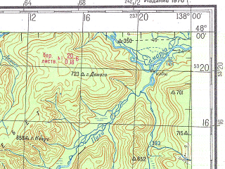Reduced fragment of topographic map ru--gs--200k--l53-06--N048-00_E137-00--N047-20_E138-00