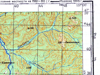 Reduced fragment of topographic map ru--gs--200k--l53-11--N047-20_E136-00--N046-40_E137-00