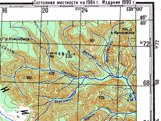 Reduced fragment of topographic map ru--gs--200k--l53-18--N046-40_E137-00--N046-00_E138-00; towns and cities Kkhutsin