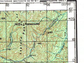 Reduced fragment of topographic map ru--gs--200k--l53-27--N045-20_E134-00--N044-40_E135-00; towns and cities Ariadnoye, Samarka, Zavetnoye