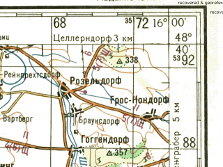 Reduced fragment of topographic map ru--gs--200k--m33-34--N048-40_E015-00--N048-00_E016-00 in area of Kamp, Ottenstein Stausee, Dobra Stausee; towns and cities Sante Polten, Krems, Zwettl, Ybbs