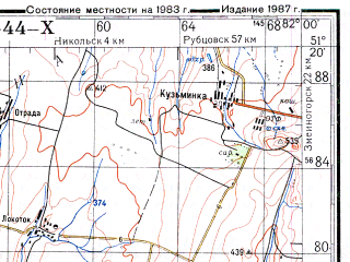 Reduced fragment of topographic map ru--gs--200k--m44-10--N051-20_E081-00--N050-40_E082-00; towns and cities Gornyak, Krasnyy Aul, Kruglova, Lokot'