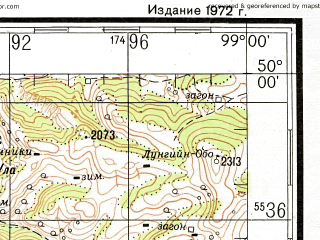 Reduced fragment of topographic map ru--gs--200k--m47-21--N050-00_E098-00--N049-20_E099-00; towns and cities Sharga