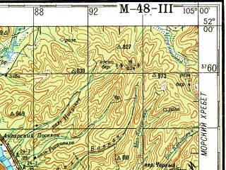 Reduced fragment of topographic map ru--gs--200k--m48-03--N052-00_E104-00--N051-20_E105-00; towns and cities Baykal'sk, Vydrino, Bolshaya Rechka, Listvyanka, Baykal