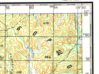 Reduced fragment of topographic map ru--gs--200k--m50-04--N052-00_E117-00--N051-20_E118-00; towns and cities Mironovo, Shelopugino