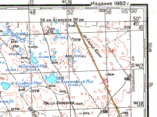 Reduced fragment of topographic map ru--gs--200k--m50-13--N050-40_E114-00--N050-00_E115-00; towns and cities Tokchin, Tut-khaltuy, Zutkuley
