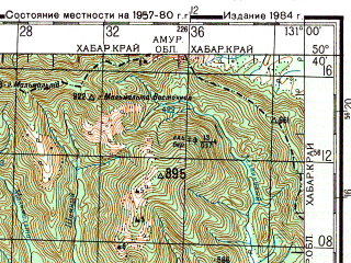 Reduced fragment of topographic map ru--gs--200k--m52-17--N050-40_E130-00--N050-00_E131-00