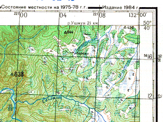 Reduced fragment of topographic map ru--gs--200k--m52-18--N050-40_E131-00--N050-00_E132-00; towns and cities Ust'-tyrma