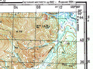 Reduced fragment of topographic map ru--gs--200k--m52-24--N050-00_E131-00--N049-20_E132-00
