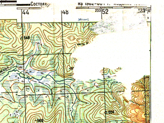 Reduced fragment of topographic map ru--gs--200k--m53-19--N050-00_E132-00--N049-20_E133-00