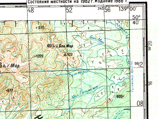Reduced fragment of topographic map ru--gs--200k--m54-13--N050-40_E138-00--N050-00_E139-00; towns and cities Gurskoye