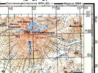 Reduced fragment of topographic map ru--gs--200k--m57-07--N051-20_E156-00--N050-40_E157-00; towns and cities Grotava, Kozyrevskoye, Lopatka