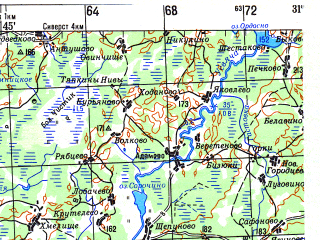 Reduced fragment of topographic map ru--gs--200k--n36-01--(1983)--N056-00_E030-00--N055-20_E031-00; towns and cities Gurki, Surazh, Usvyaty