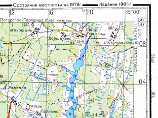 Reduced fragment of topographic map ru--gs--200k--n36-05--N056-00_E034-00--N055-20_E035-00; towns and cities Gagarin, Sychevka, Karmanovo, Kasnya, Novodugino