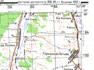 Reduced fragment of topographic map ru--gs--200k--n38-19--N054-00_E042-00--N053-20_E043-00; towns and cities Zemetchino, Bol'shaya Luka, Shiringushi