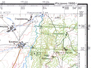 Reduced fragment of topographic map ru--gs--200k--n39-12--N055-20_E053-00--N054-40_E054-00; towns and cities Aznakayevo, Chalpy