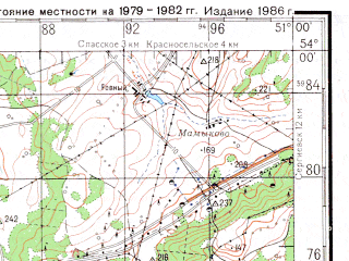 Reduced fragment of topographic map ru--gs--200k--n39-21--N054-00_E050-00--N053-20_E051-00; towns and cities Novosemeykino, Yelkhovka, Krasnyy Yar
