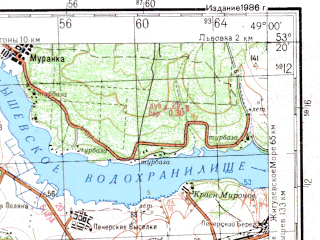 Reduced fragment of topographic map ru--gs--200k--n39-25--N053-20_E048-00--N052-40_E049-00; towns and cities Syzran', Oktyabr'sk, Vyazovka, Kashpir, Obraztsovoye