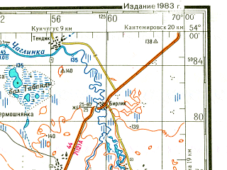 Reduced fragment of topographic map ru--gs--200k--n42-22--N054-00_E069-00--N053-20_E070-00; towns and cities Krasnoarmeysk, Alekseyevka, Novosukhotino
